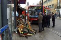 Bus crashed on shop