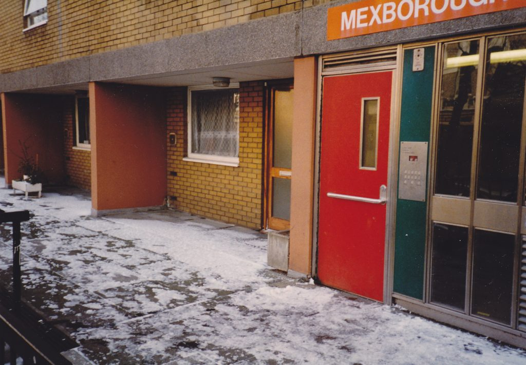 This is how Mexborough building did look like in 1990's before the new entrance doors were installed during the 2001 programme.